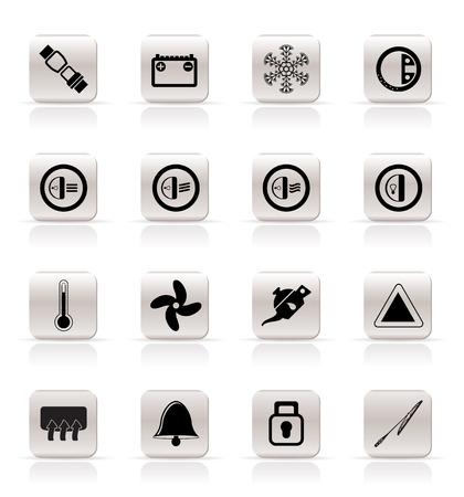 conditioning: Iconos de panel de coche - conjunto de iconos de vector