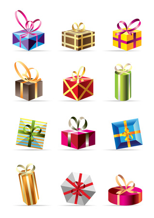 set of  colorful gift boxes - vector illustration Illustration