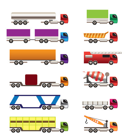 wreckage: different types of trucks and lorries icons - Vector icon set Illustration