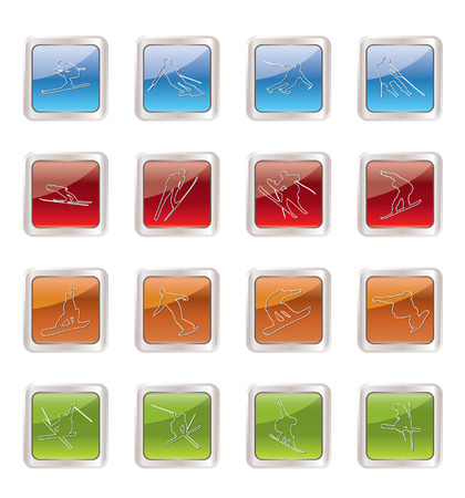 ski and snowboard icons - vector icon set Vector
