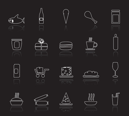 blue cheese: Shop and Foods Icons - Vector Icon Set Illustration