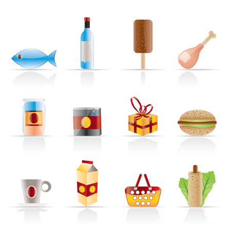 Shop, food and drink icons 1 - vector icon set Vector