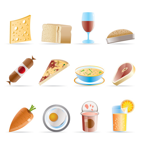 Shop, food and drink icons 2 - vector icon set Vector