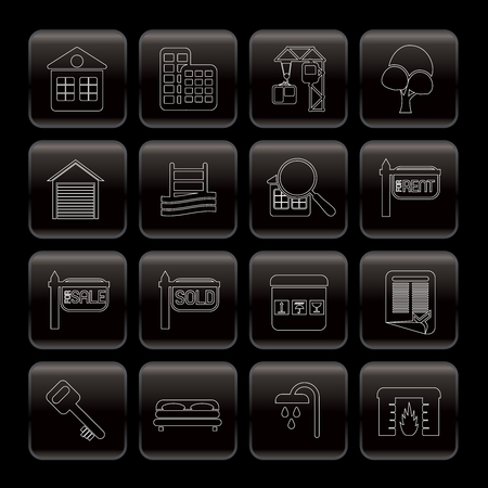 Line Real Estate Icons - Vector Icon Set Vector
