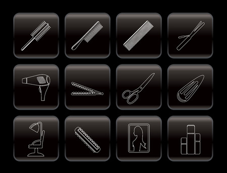 Line hairdressing, coiffure and make-up icons - vector Icon Set