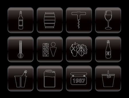 producing: Wine Icons - Vector Icon Set