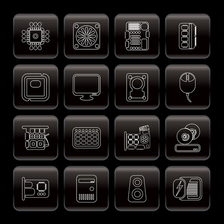 Line Computer  Performance and Equipment Icons - Vector Icon Set Vector