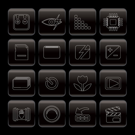 megapixel: Line Digital Camera  Performance Icons - Vector Icon Set