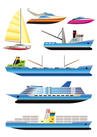frigate: different types of boat and  ship icons - Vector icon set Illustration