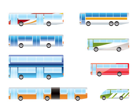 motor coach: different types of bus icons - Vector icon set Illustration