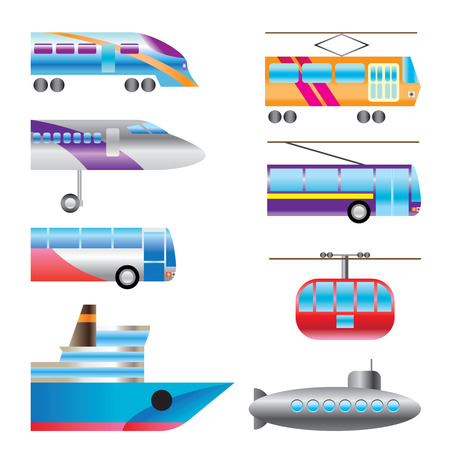 different types of transportation icons - Vector icon set Vector