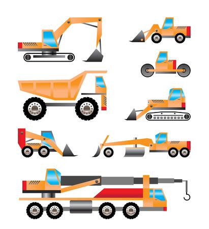 ダンプ: さまざまな種類のトラック、油圧ショベルのアイコン - ベクトル アイコンを設定