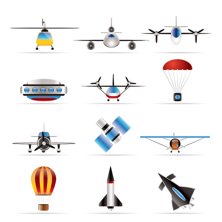 different types of Aircraft Illustrations and icons - Vector icon set 2 Stock Vector - 6025778