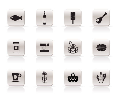 Shop, food and drink icons 1 - vector icon set Stock Vector - 6025756