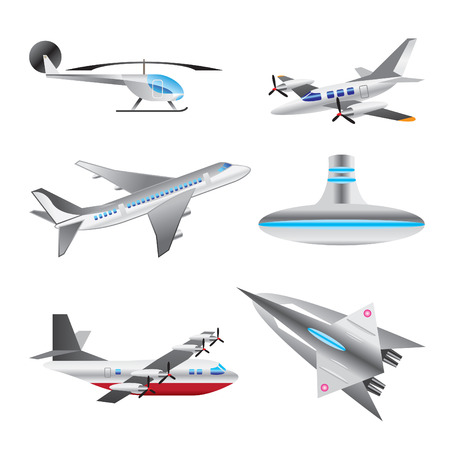 small plane: different types of Aircraft Illustrations and icons - Vector icon set Illustration
