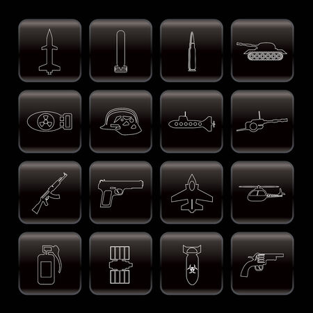 Line weapon, arms and war icons - Vector icon set Stock Vector - 6082784