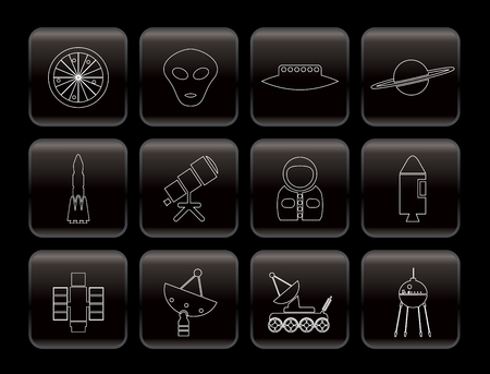 Line Astronautics and Space Icons - Vector Icon Set 2 Vector