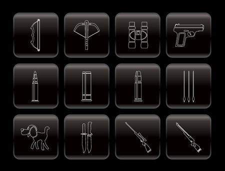 sharpshooter: Caza y armas Icons - Vector Icon Set