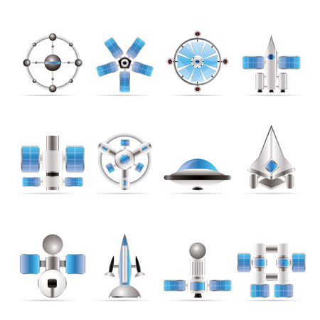 different kinds of future spacecraft icons - vector icon set Stock Vector - 6082793