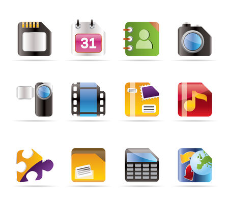 Mobile Phone, Computer and Internet Icons - Vector Icon Set Stock Vector - 6082794