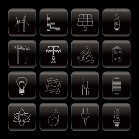 Electricity, power and energy icons - vector icon set Stock Vector - 6082781
