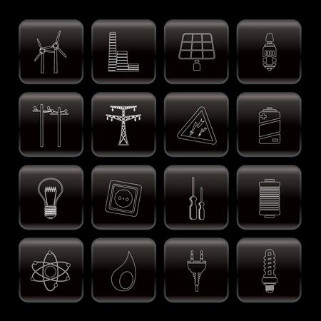 iconos energ�a: Iconos de la electricidad, la energ�a y la energ�a - conjunto de icono de vector Vectores