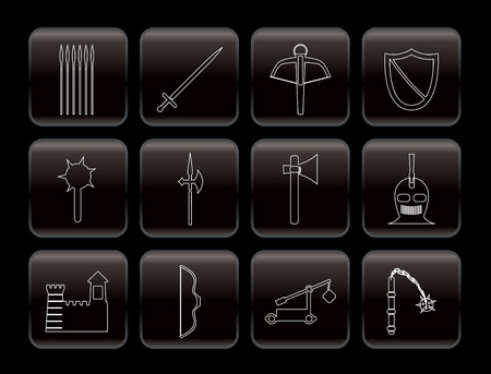 arbalest: Medieval arms and objects icons - vector icon set  Illustration