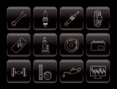 sparking plug: Car Parts and Services icons - Vector Icon Set 1 Illustration