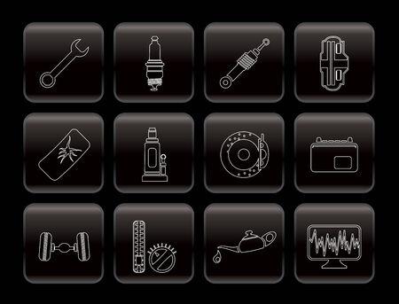 Iconos de piezas de automóvil y servicios - Vector Icon Set 1