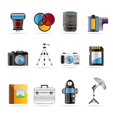 Photography equipment icons - vector icon set