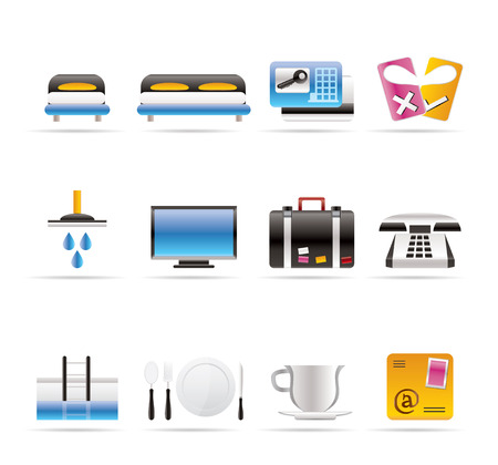 reservoir: Hotel and motel icons  - Vector icon Set Illustration