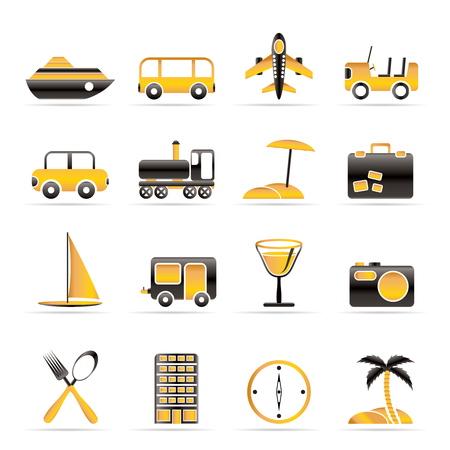 beach cruiser: Travel, transportation, tourism and holiday icons - vector icon set Illustration
