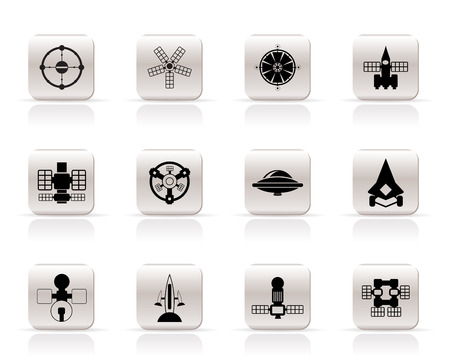 satellite launch: different kinds of future spacecraft icons - vector icon set Illustration