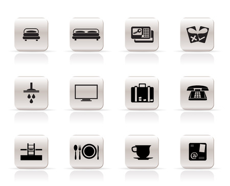 accommodations: Hotel and motel icons  - Vector icon Set Illustration