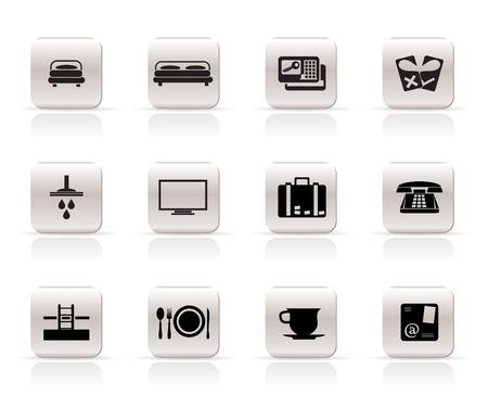hospedaje: Iconos de hotel y motel - vector icono conjunto Vectores