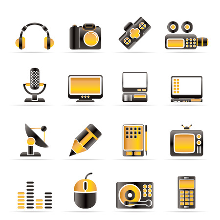 photo icons: Media equipment icons - vector icon set
