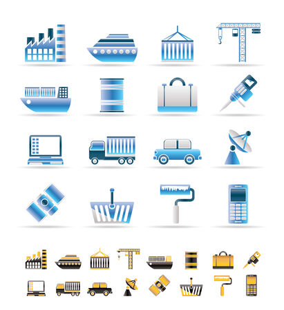 mine site: Industry and Business icons - vector icon set. 2 colors included.