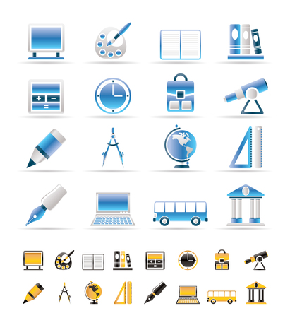 School and education icons - vector icon set Stock Vector - 6144288