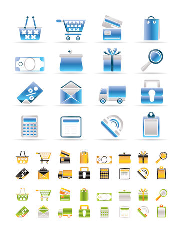 Online shop icons - vector  icon set. 3 Colors included. Stock Vector - 6144289