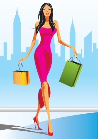 las niñas con bolsa de compras en Nueva York - ilustración vectorial de compras de moda Vectores