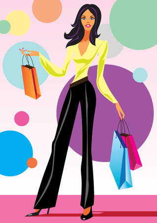 clothing shop: fashion shopping girls with shopping bag - vector illustration