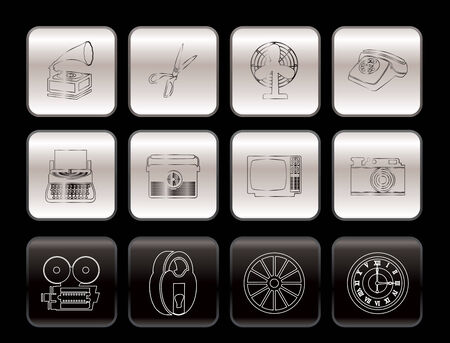 Retro business and office object icons - vector icon set Vector