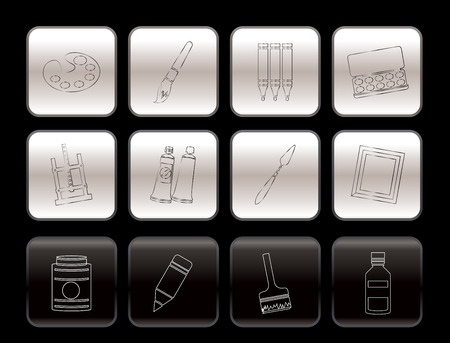 painter, drawing and painting icons -  vector icon set Stock Vector - 6200484