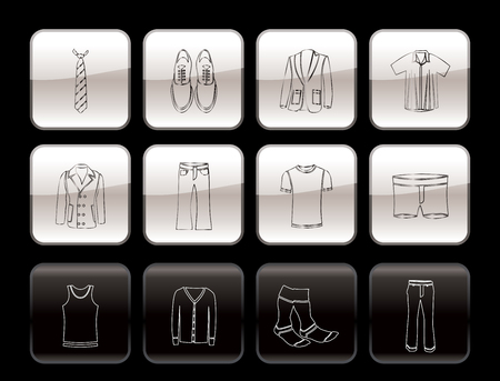 man fashion and clothes icons - vector icon set Vector