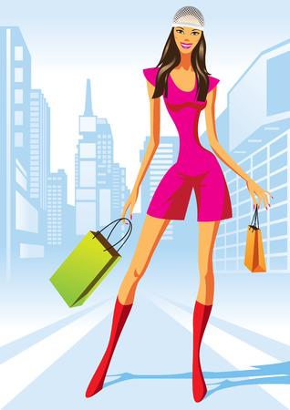fashion shopping: las ni�as con bolsa de compras en Nueva York - ilustraci�n vectorial de compras de moda  Vectores