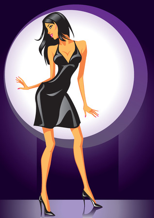 robe noire: Sexy girl de danse en robe noire - Vector Illustration