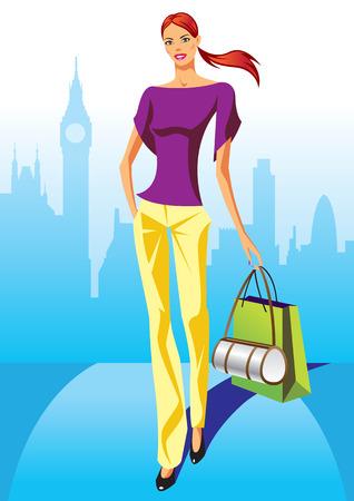 las niñas con bolsa de compras en Londres - ilustración vectorial de compras de moda Vectores