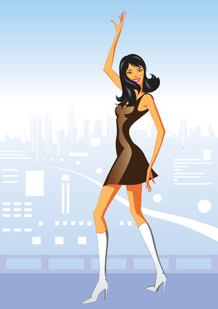 showgirls: Sexy dancing girl in  Los Angeles- Vector Illustration