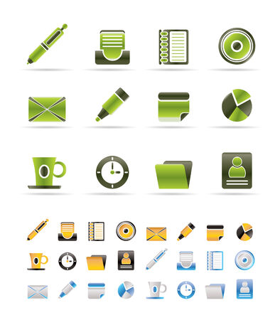 Office &amp, Business Icons - icon Set - 3 colors included Vector