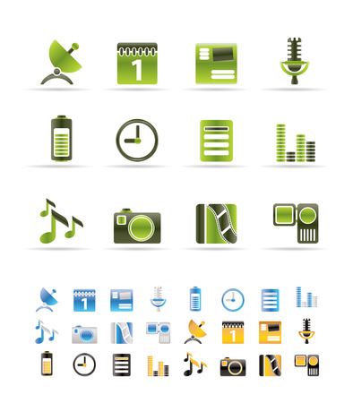 Mobile phone performance icons - icon set - 3 colors included Vector